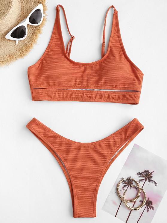 ZAFUL Textured Cutout High Cut Tank Bikini Swimwear - البرتقالي S