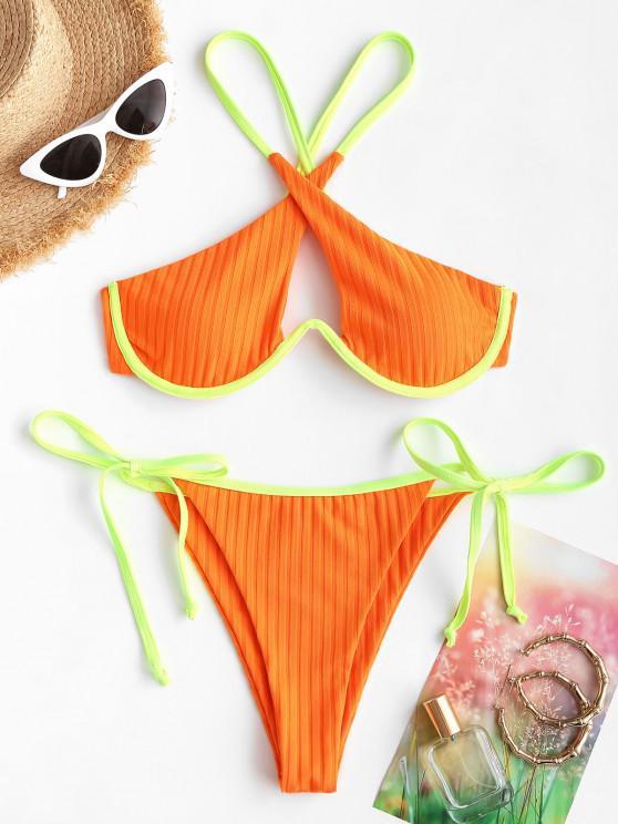 ZAFUL Mono Wire Padded Neon String Bikini Set - البرتقالي S