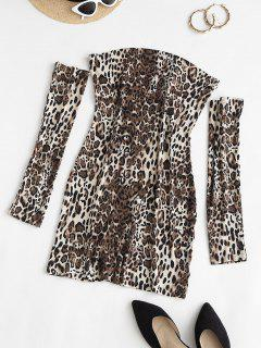 Separate Sleeve Leopard Slinky Dress - Coffee S