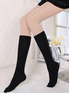 Solid Cotton Over The Knee Knee Socks - Black