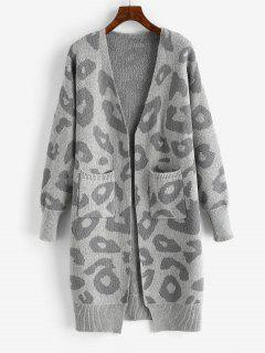 Leopard Drop Shoulder Open Front Cardigan - Dark Gray