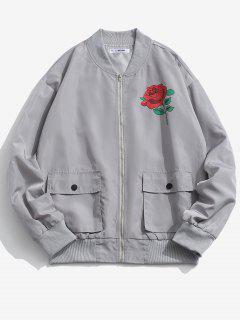 Rose Flower Pattern Flap Pocket Jacket - Platinum M