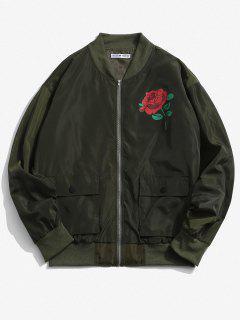 Rose Flower Pattern Flap Pocket Jacket - Army Green Xl