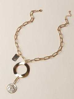 Circle Coin Pendant Chain Necklace - Golden