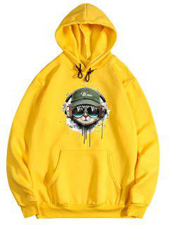 Listening Music Cat Paint Pattern Fleece Hoodie - Bright Yellow 2xl