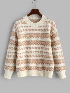 Tribal Pattern Drop Shoulder Sweater - Light Coffee