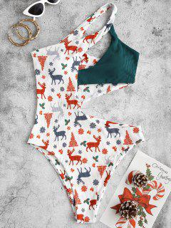 ZAFUL Christmas Tree Elk Snowflake Print Cut Out One-piece Swimwear - White M