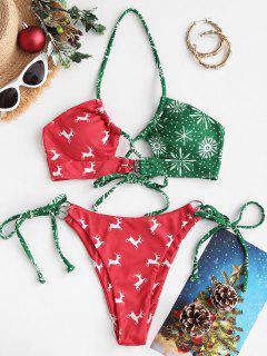 ZAFUL Christmas Elk Snowflake Print Tied Bikini Swimwear - Red S