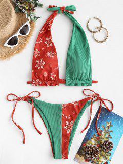 ZAFUL Christmas Halter Ribbed Snowflake Tie String Bikini Swimwear - Red L