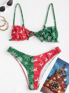 ZAFUL Christmas Printed Cinched Colorblock Bikini Swimwear - Red L