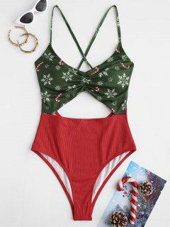 ZAFUL Christmas Ribbed Snowflake Cutout Ruched One-piece Swimsuit - Red L