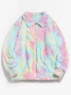 ZAFUL Fluffy Tie Dye Jacket - Light Pink Xl
