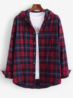 Long Sleeve Plaid Hooded Shirt Jacket - Red 2xl