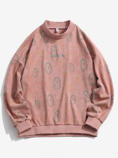 ZAFUL Circle Print Letter Embroidered Suede Sweatshirt - Light Pink L