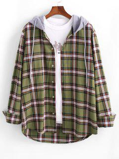 Plaid Print Corduroy Panel Hooded Shirt - Deep Yellow M