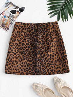 Leopard Print Faux Suede Mini Skirt - Coffee M