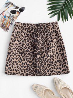 Mini Falda Gamuza Falsa Y Estampado Leopardo - Multicolor M