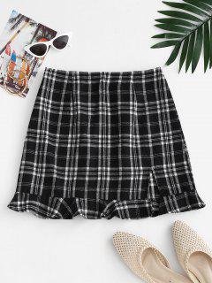 Slit Ruffled Hem Plaid Mini Skirt - Black S