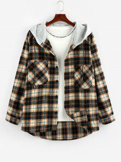 ZAFUL Hooded Plaid Print Double Pockets High Low Shirt - Wood Xl