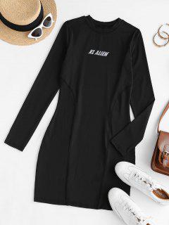 Robe Crayon Plissée Graphique Hauteur De Taille - Noir L