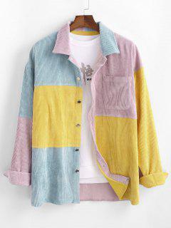 Camisa De Pana Con Manga Larga Y Bolsillo De Bloqueo De Color - Multicolor 2xl