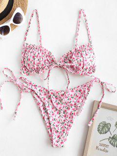 ZAFUL Ditsy Floral Frilled Tie Front String Bikini Swimwear - Light Pink S