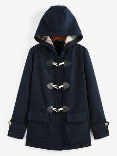 ZAFUL Hooded Horn Button Zip Up Pocket Coat - Deep Blue M