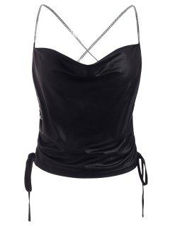 Cinched Chain Criss Cross Cowl Front Crop Top - Black S