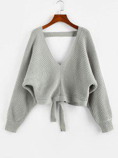 ZAFUL Tie Back Plunging Batwing Sleeve Sweater - Gray M
