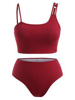 ZAFUL Plus Size Wide Ribbed Asymmetrical Neck Tankini Swimwear - Deep Red Xxxxl