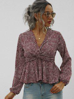 Twist Peplum Hem Spotted Print Blouse - Deep Red L