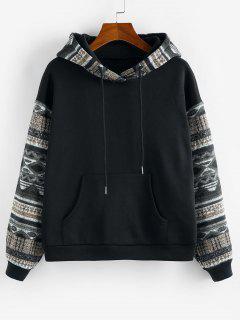 ZAFUL Ethnic Seamless Pattern Drop Shoulder Fleece Lined Hoodie - Multi-e L