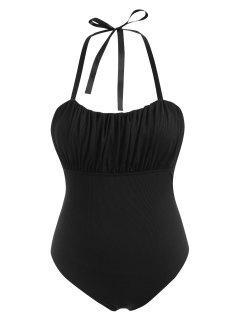 ZAFUL Plus Size Halter Ribbed Ruched Cups Ribbons Tie One-piece Swimsuit - Black Xxxxl