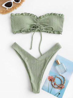 ZAFUL Cinched Ribbed Padded Bandeau Bikini Set - Light Green M