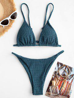 ZAFUL Halter Smocked String Bikini Swimwear - Deep Blue S