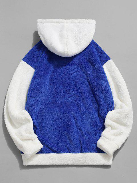 outfits ZAFUL Kangaroo Pocket Contrast Faux Fur Fluffy Hoodie - BLUE XS Mobile