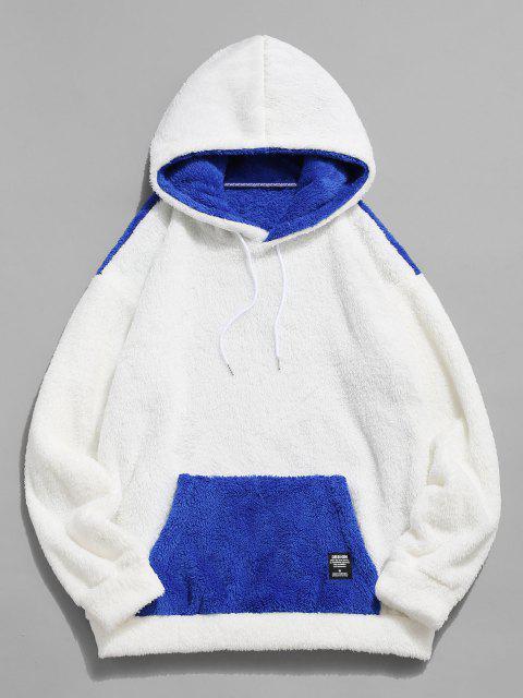 best ZAFUL Kangaroo Pocket Contrast Faux Fur Fluffy Hoodie - BLUE 2XL Mobile