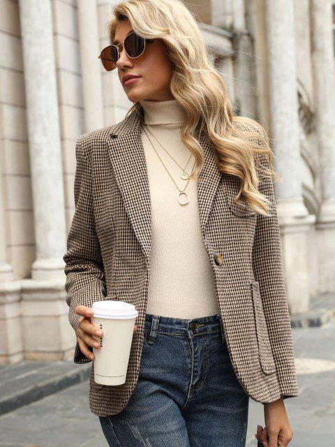 affordable Houndstooth Pockets Back Slit Blazer - DEEP COFFEE S Mobile