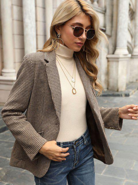 women Houndstooth Pockets Back Slit Blazer - DEEP COFFEE M Mobile