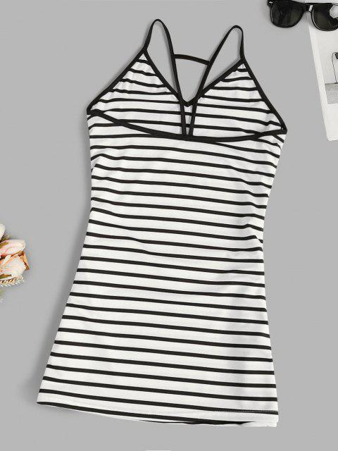 outfit Spaghetti Strap Striped Trapeze Mini Dress - WHITE M Mobile