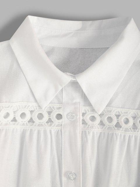 Vestido Camisa Manga Campana Encaje - Blanco S Mobile