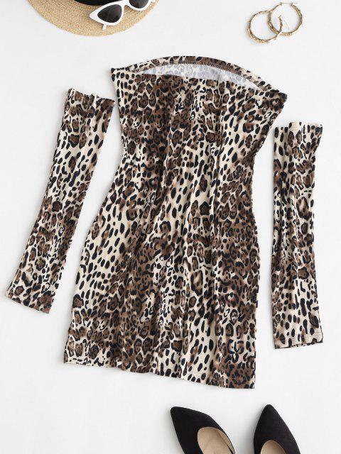 new Separate Sleeve Leopard Slinky Dress - COFFEE L Mobile