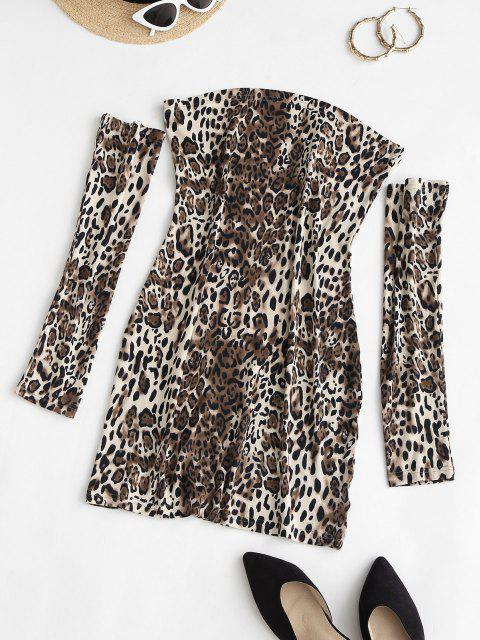 Separate Sleeve Leopard Slinky Dress - قهوة M Mobile