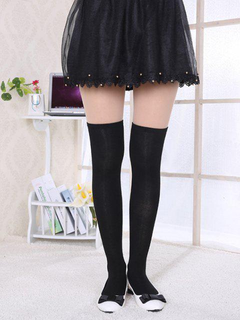 sale Solid Cotton Over The Knee Knee Socks - BLACK  Mobile