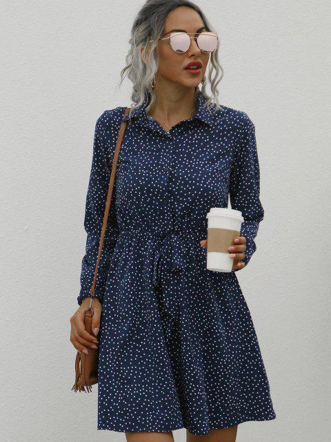 Vestido de Puntos con Manga Larga con Botones en Cintura Frontal - Azul Profundo S Mobile