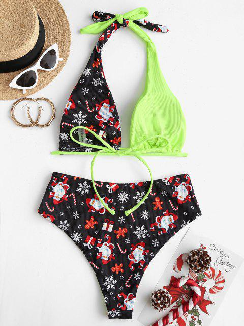 affordable ZAFUL Christmas Santa Claus Snowflake Print Convertible Padded Bikini Set - GREEN S Mobile