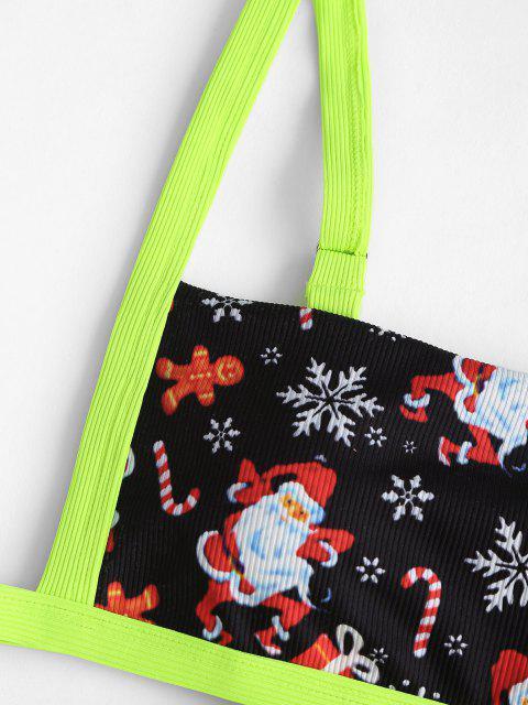 women's ZAFUL Christmas Santa Claus Snowflake Print Padded Bikini Set - GREEN M Mobile