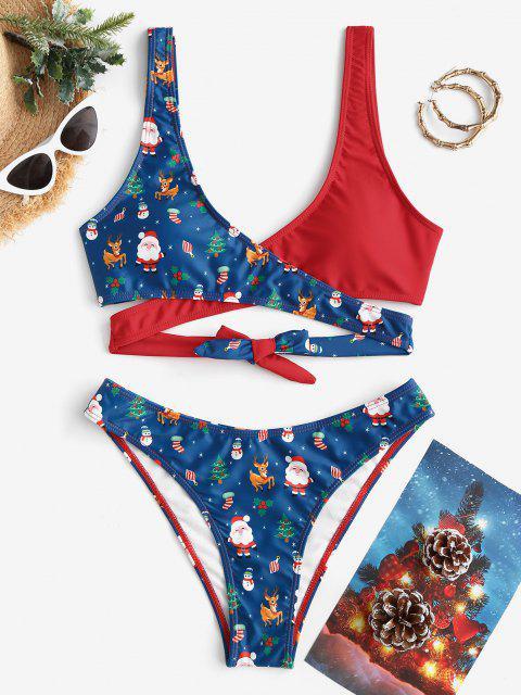 ZAFUL Christmas Santa Claus Snowman Elk Print Padded Wrap Bikini Set - ازرق غامق L Mobile