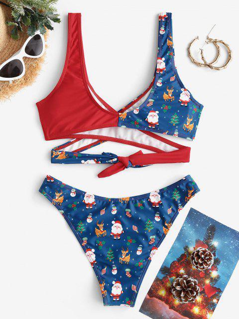outfit ZAFUL Christmas Santa Claus Snowman Elk Print Padded Wrap Bikini Set - DEEP BLUE L Mobile