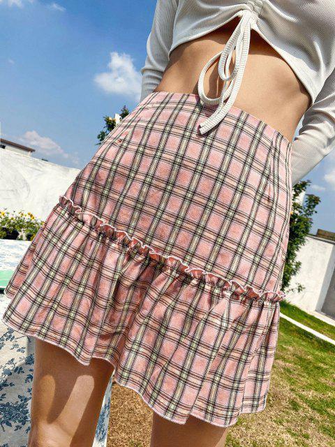 shops Lettuce Trim Plaid Mini Skirt - LIGHT PINK XL Mobile